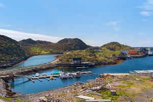 Village on the norwegian island Skrova in sunny day.jpg