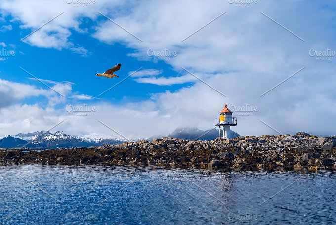 Lighthouse on the island in Norwegian sea.jpg - Nature