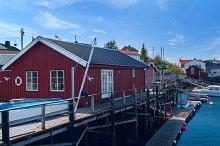 Fishermen houses on banks of the Norwegian island.jpg