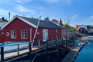 Fishermen houses on banks of the Norwegian island.jpg