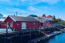 Fishermen houses on the banks of the Norwegian island.jpg