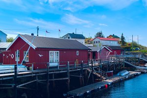 Fishermen houses on the banks of the Norwegian island.jpg