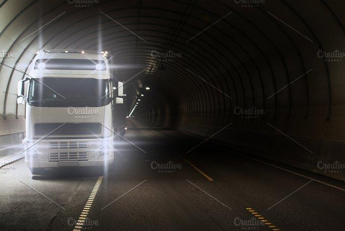 Truck in a long road tunnel.jpg - Transportation