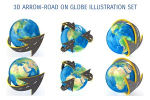 3D ARROW ROAD ON GLOBE ILLUSTRATION