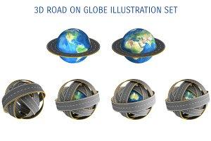 3D ROAD ON GLOBE ILLUSTRATION SET