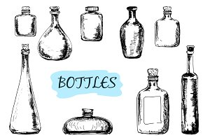 Set of hand drawn bottles