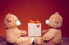 Teddy Bears couple. Love heart