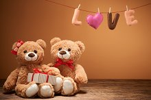 Teddy Bears couple. Love heart