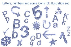 ABC, numbers, icons ICE SET