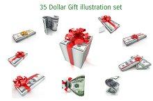 35 Dollar Gift illustration set