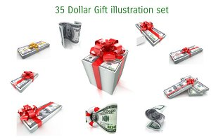 35 Dollar Gift illustration set