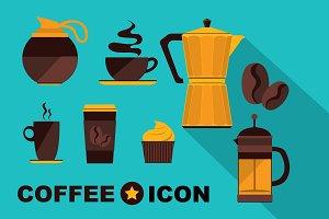 9 icons Coffee set. Vintage design.