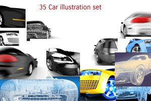35 Car illustration set