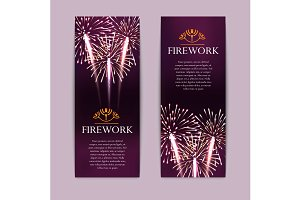 Set of fireworks banners
