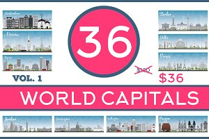 36 World Capitals Skyline