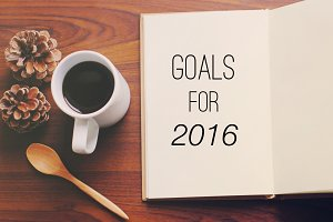 List of goals for 2016 on notebook