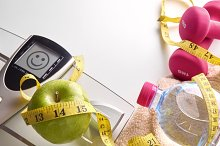 Concept health diet and sports face