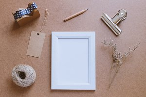 Photo frame mockup and cute decor