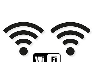 Set of different icons Wi fi