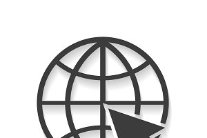 Website Icon world globe with shadow