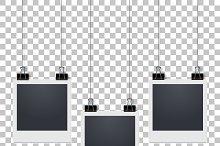 Hanging blank photo frame