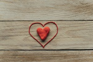 heart on the wooden table