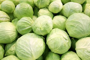 Fresh cabbage at a farmer's market