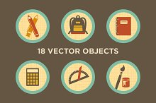 Things in School - 18 Vector Objects