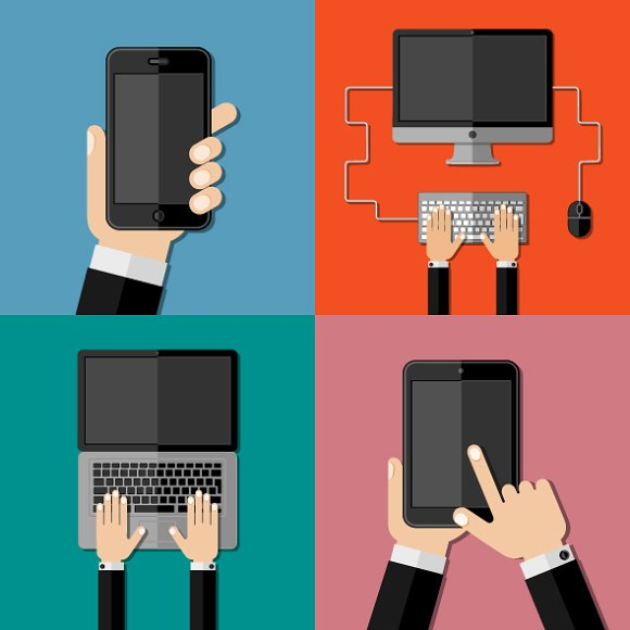 Gadgets. Set of flat icons. - Icons