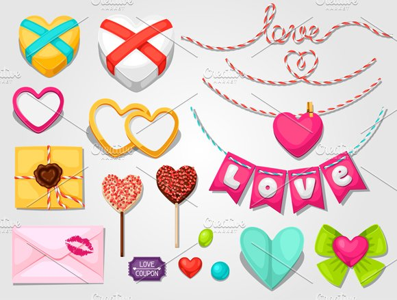 Set of love objects and decorations.