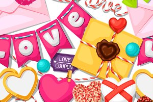 Valentines Day seamless patterns.