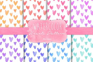 Watercolor Hearts Pattern
