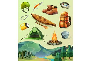Camp vector icons