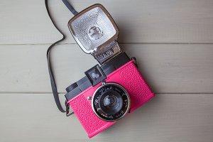 Cute pink retro camera