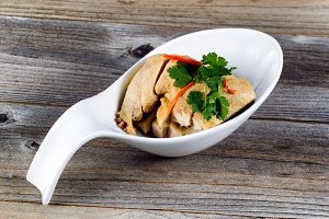 Cooked Sliced Chicken in Spoon Bowl