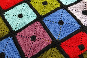 Colorful knitted wool blanket