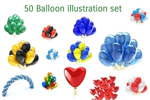 50 Balloon illustration set