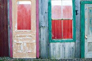 colorful wooden doors
