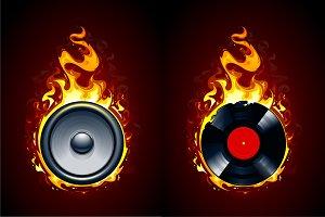 Burning Speaker and Vinyl Record