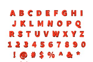 Decorative red font