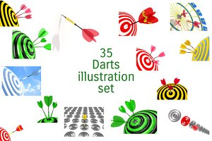 35 Darts illustration set