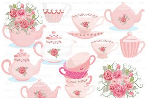 Clipart Tea Party in Pink AMB-961