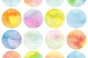 Set of circle watercolor.