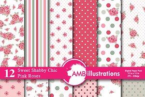 Digital Paper Pink Roses AMB-954