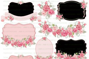 Clipart Floral Frames Pink AMB-959