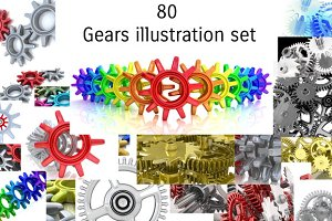 3D Gears illustration background set