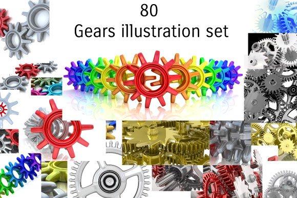 3D Gears illustration background set