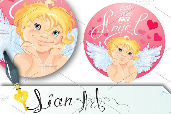 Cute Cupid in the round pink frame.
