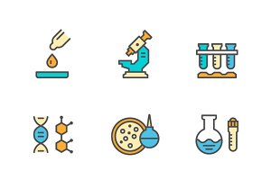Set line icons of medical analysis