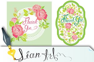 Thank you  cards with rose flowers